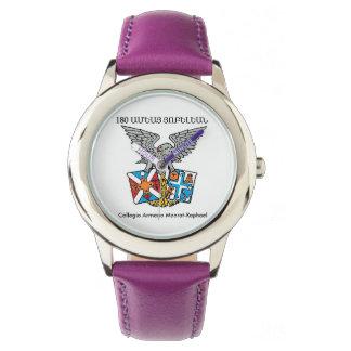 Púrpura del acero inoxidable de Collegio Armeno Reloj De Pulsera