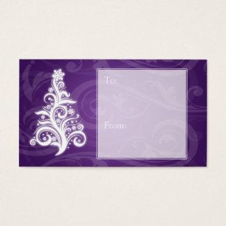 Púrpura del árbol de navidad de Swirly de la Tarjeta De Negocios