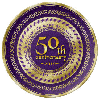 Púrpura del brillo del oro del aniversario de boda plato de porcelana