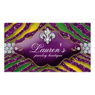 Púrpura del carnaval de la flor de lis de la cebra tarjetas de visita