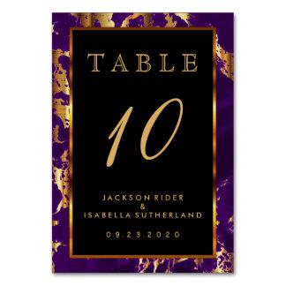 Púrpura del ciruelo y mármol del oro - número de tarjeta