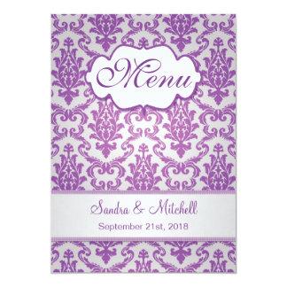Púrpura del damasco en menú de la bodas de plata invitación 12,7 x 17,8 cm