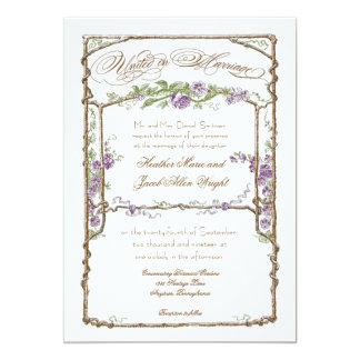 Púrpura del enrejado de Bois del vintage del Invitación 12,7 X 17,8 Cm