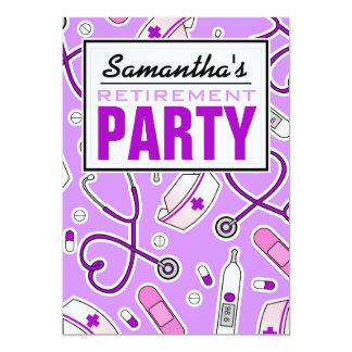 Púrpura del fiesta de retiro de la enfermera invitación 12,7 x 17,8 cm