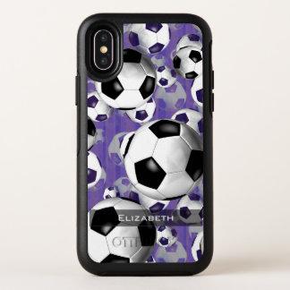 púrpura del iPhone X OtterBox w del fútbol de las
