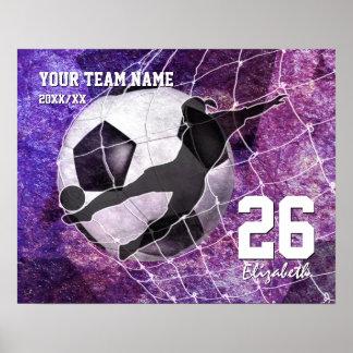 Púrpura del nombre del equipo del fútbol de los póster