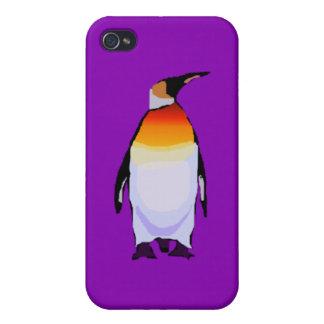Púrpura del pingüino iPhone 4 protectores