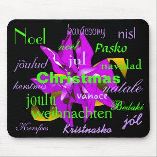 Púrpura del Poinsettia del navidad de alrededor de Alfombrilla De Ratones