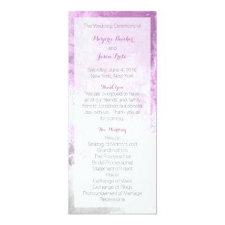 Púrpura del programa del boda del remolino de la invitación 10,1 x 23,5 cm