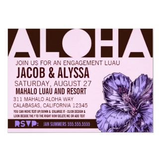 Púrpura del rosa del mundo de la hawaiana 311 invitación 12,7 x 17,8 cm