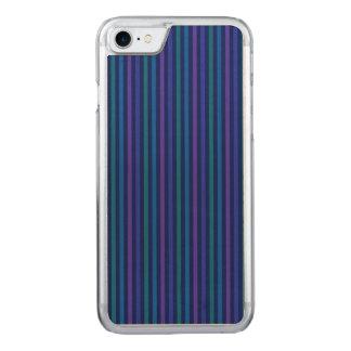 Púrpura del verde azul de las rayas verticales funda para iPhone 7