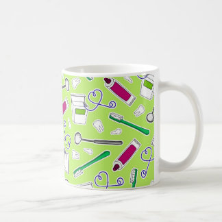 Púrpura del verde del amor del dentista lindo/del taza de café
