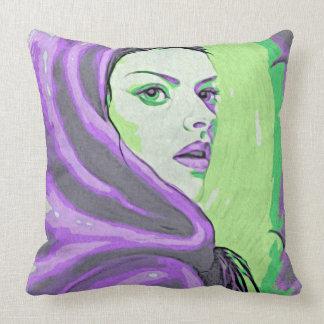 púrpura del woodblock de la señora cojín decorativo