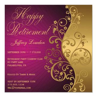 Púrpura e invitación del fiesta de retiro del oro