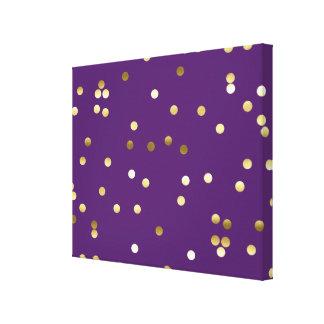 Púrpura elegante del confeti de la hoja de oro impresión en lienzo