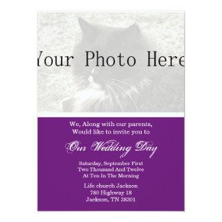 Púrpura elegante que su boda de la foto invita invitación 13,9 x 19,0 cm