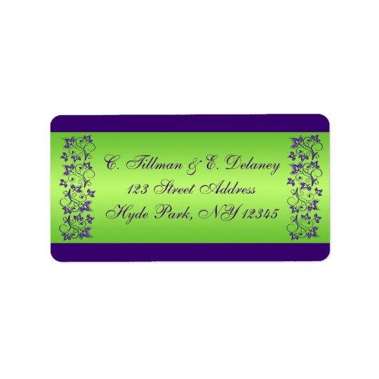 Púrpura, etiqueta de dirección floral del boda del
