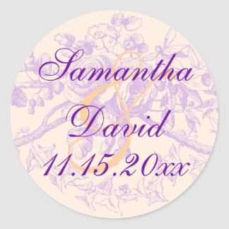 Púrpura floral de la decoración del boda del pegatina redonda