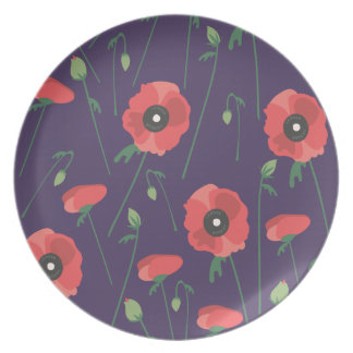 Púrpura floreciente de la amapola de la primavera plato de cena