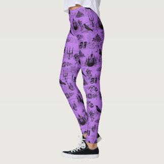 Púrpura Halloween del vintage Leggings
