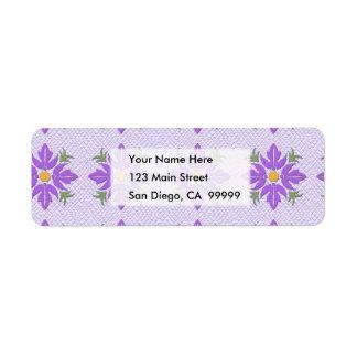 Púrpura hawaiana del edredón de la flor del estilo etiqueta de remite