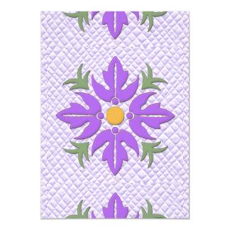 Púrpura hawaiana del edredón de la flor del estilo invitación 12,7 x 17,8 cm
