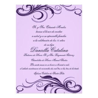 púrpura invitaciones de quinceanera anuncio