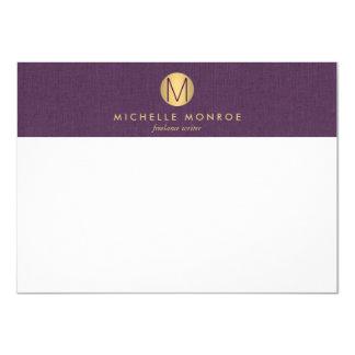 Púrpura minimalista Notecard del monograma del Invitación 11,4 X 15,8 Cm