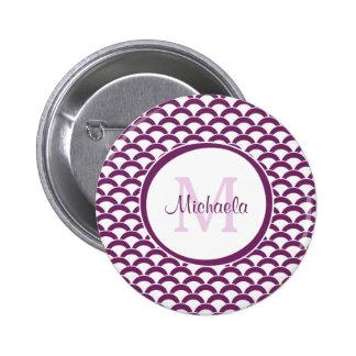 Púrpura moderno y el blanco hornea el monograma y chapa redonda 5 cm