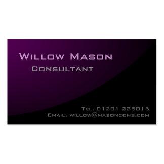 Púrpura negra curvada, tarjeta de visita profesion