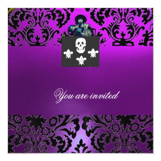 Púrpura NEGRA del MONOGRAMA del CRÁNEO y de la Invitación 13,3 Cm X 13,3cm
