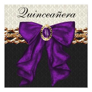 Púrpura negra Quinceanera del damasco del oro Invitación 13,3 Cm X 13,3cm