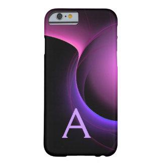 Púrpura negra vibrante del MONOGRAMA del ECLIPSE Funda Para iPhone 6 Barely There
