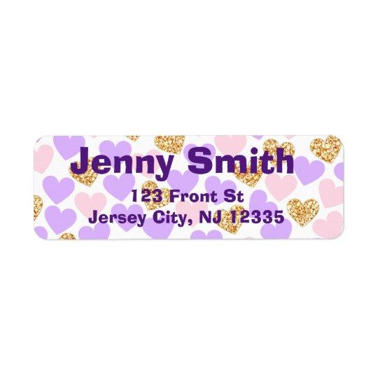 Púrpura, oro y etiquetas rosadas del remite de los etiqueta de remitente
