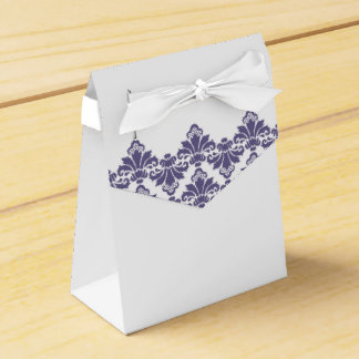 Púrpura oscura 2 del damasco del boda de la caja