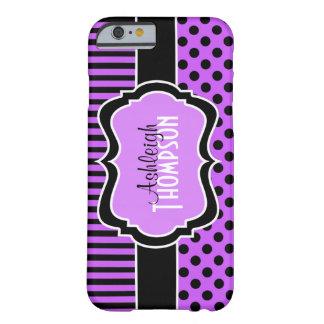 Púrpura personalizada, lunares rayados negros funda de iPhone 6 barely there