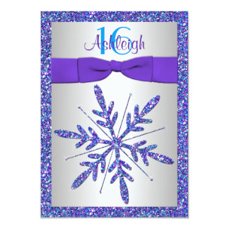 Púrpura, plata, invitación azul del cumpleaños del