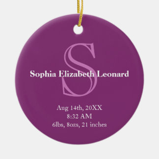 Púrpura recién nacida del recuerdo del monograma ornamentos de navidad