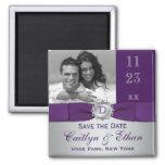 Púrpura, reserva floral de los gris plateados el i imán de frigorifico