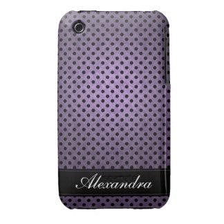 Púrpura retra punteada polca iPhone 3 protectores
