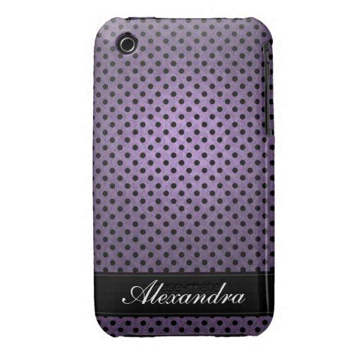 Púrpura retra punteada polca iPhone 3 cárcasas