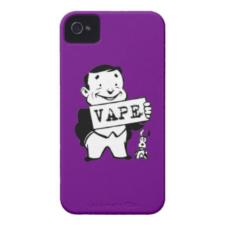 Púrpura retra rechoncha de Vape del hombre iPhone 4 Case-Mate Fundas