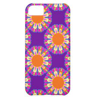 Púrpura retro y el naranja florece el regalo del funda para iPhone 5C