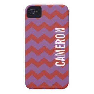 Púrpura roja del modelo gráfico del galón su funda para iPhone 4 de Case-Mate