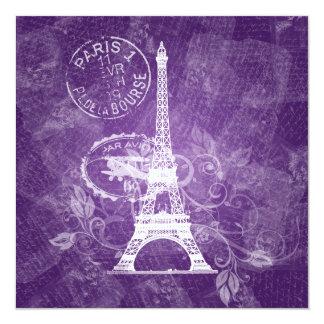 Púrpura romántica de París de la ducha nupcial Invitación 13,3 Cm X 13,3cm
