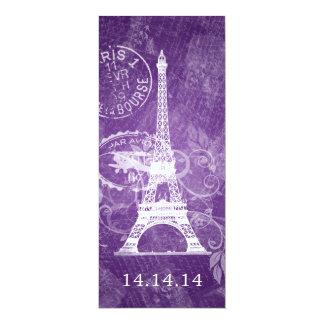 Púrpura romántica de París del menú elegante del Invitación 10,1 X 23,5 Cm