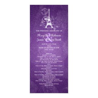 Púrpura romántica de París del programa elegante Invitación 10,1 X 23,5 Cm