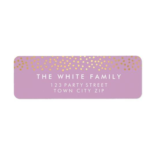 Púrpura rústica elegante del confeti del oro del etiqueta de remitente
