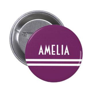 Púrpura suave blanca del monograma conocido de las chapa redonda de 5 cm