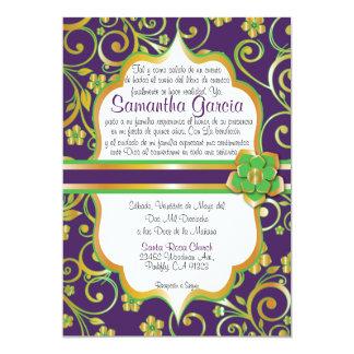 Púrpura, verde y español oscuros Quinceañera Invi Invitación 12,7 X 17,8 Cm
